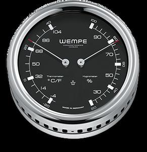 Bilde av Wempe Pilot III: Termo-/hygrometer med sort skive- chrome